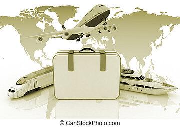 render, trafic, 3d, ressources, valise, illustration