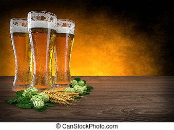 render, trois, hops., bière, orge, lunettes, 3d