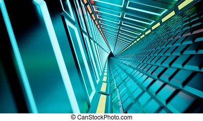 render, tunnel, résumé, néon, fond, 3d