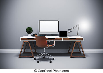 render, ustawianie, nowoczesny, komputer, miejsce pracy, 3d