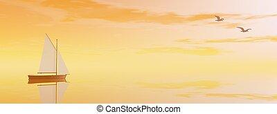 render, voile, -, coucher soleil, bateau, 3d
