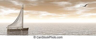 render, voile, -, océan, petit bateau, 3d