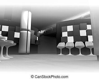 render, waiting room with chairs in hospital, clean room with shapes in 3d, business space and work