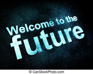 render, welkom, scherm, toekomst, pixelated, woorden, tijd, ...
