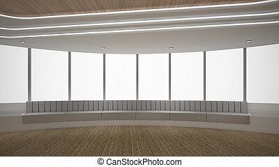 render, zimmer, modern, auf, abbildung, leerer , innenarchitektur, verhöhnen, 3d