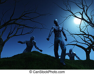 render, zombies, 3d