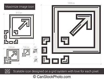 rendere massimo, immagine, linea, icon.
