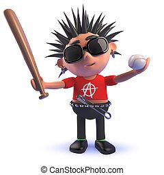 3d punk rocker cartoon character holding a baseball bat and ball