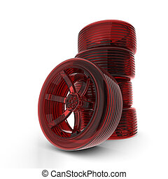 Rendered 3D red car tires