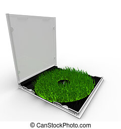 Rendered green CD case with grass instead of it