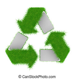 Rendered green recycling symbol covered with grass