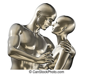 Rendered illustration of couple in love
