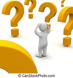 rendered, illustration., spørgsmål, forvirr, 3, marks., mand