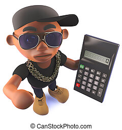 3d cartoon black African American hiphop rapper holding a...