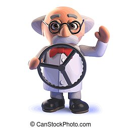 3d mad scientist cartoon character with a steering wheel