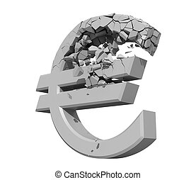 Rendered image of a crumbling Euro symbol isolated on a...
