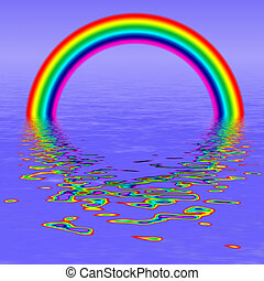 Rendered Rainbow Reflections - illustration of a rainbow...