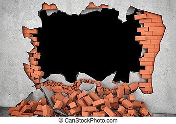 rendering, 打破, 牆, 由于, 黑洞, 以及, 堆, ......的, 生鏽, 紅色, 磚,...