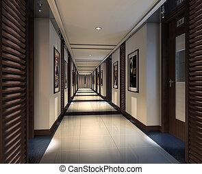 rendering, 現代, 走廊