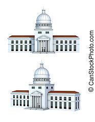 rendering, ......的, a, 政府大樓