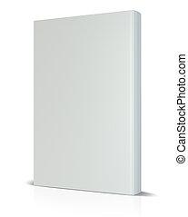 rendering., 覆蓋, 書, white., 空白, 正面圖, 3d