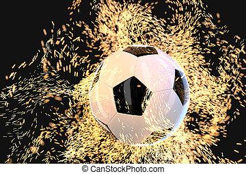 rendering., abrasador, fondo oscuro, fútbol, 3d
