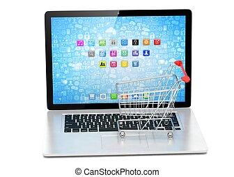 rendering., achats, laptop., charrette, 3d