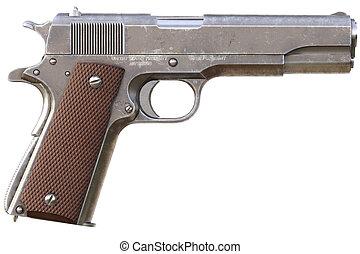 rendering., aislado, fondo., pistol., blanco, semiautomático, 3d