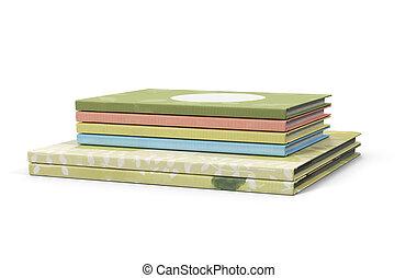 rendering., arrière-plan., livres, blanc, pile, 3d