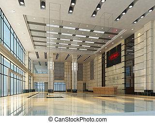 rendering empty hall interior.