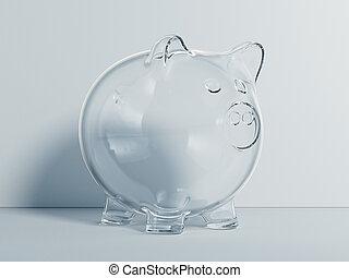 rendering., isolé, fond, porcin, lustré, blanc, transparent, banque, 3d