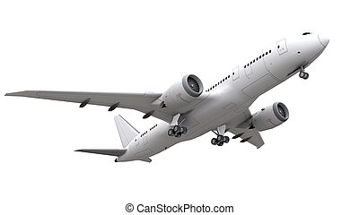 rendering., isolato, fondo., aeroplano, bianco, 3d