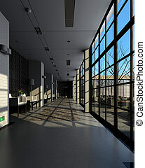 Rendering modern corridor - Modern corridor interior image...