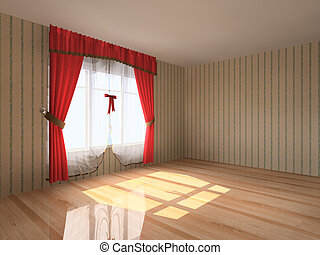 Rendering modern empty room interio