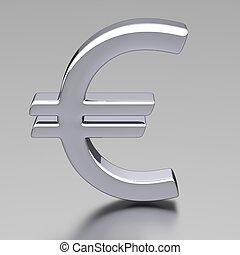 3D Chrome Euro Sign