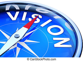 rendering of a compass with a vision icon