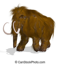 Rendering of a Mammoth with Clipping Path and shadow over white