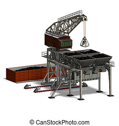 industry crane - rendering of an industry crane with...