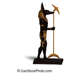 anubis statue - rendering of anubis statue with Clipping...