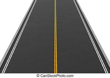 Rendering of empty two-way road covered with asphalt going straight, isolated on white background.