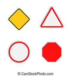 Rendering of four close-up blank road signs isolated on white background.