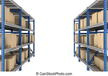 Rendering of metal racks standing together in two rows, with beige cardboard boxes on the white background.