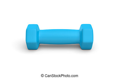 Rendering of one blue light weight dumbbell isolated on white background.
