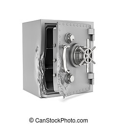 Rendering of open safe box with its door broken isolated on...