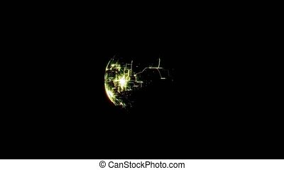 rendering of planet network over black background
