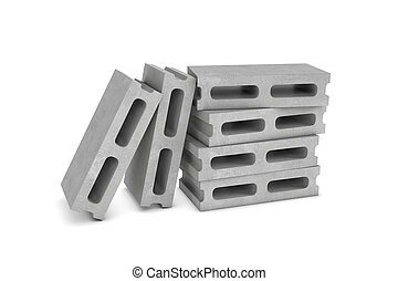 Rendering of six cinder blocks isolated on the white background