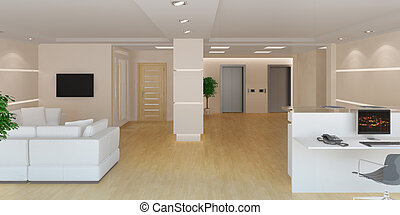 rendering of the office lobby - 3d rendering of a modern...
