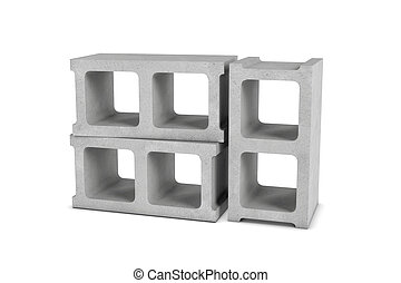 Rendering of three cinder blocks isolated on white background