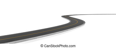 Rendering of two-way road bending, on white background.