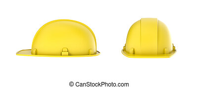 Rendering of two yellow construction helmets, side and front view, isolated on the white background.